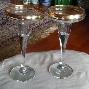 Lovely gold rimmed candle holders